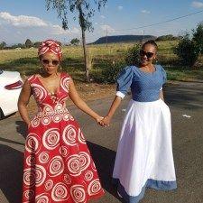 New Shweshwe seshoeshoe productions 2018 - Reny styles Latest African Fashion Dresses, African Dresses For Women, African Print Dresses, African Attire, African Wear, African American Fashion, African Print Fashion, Africa Fashion, South African Traditional Dresses