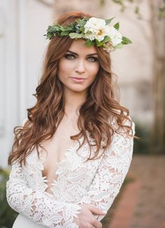 Featured style: Tara Keely 2450. Hair by Sara Marie. Make Up by Ashley Sievert. Floral Crown by Poppy and Mint. Photo by Heather Grimm.