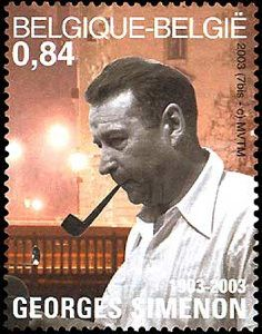 Georges Simenon - Belgian post stamp, block 2003