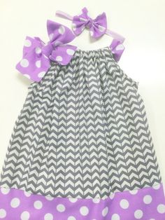 Gray and White Chevron Dress With Lavender Polka Dot 6 by babyboos