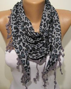 Grey Leopard Elegance Shawl / Scarf  with Lace Edge by SwedishShop, $16.90