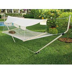 No shade trees? No worries! Our simple-to-install all-weather Hammock Canopy blocks those potent rays!