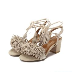 Women Genuine Leather Fringe Tassel Sandals Chunky Heel Bandage Shoes -- To view further, visit now : Lace up sandals