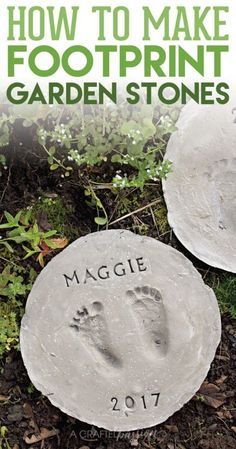 How to Make Footprint DIY Stepping Stones is part of garden Crafts DIY - Learn how to make footprint DIY stepping stones out of concrete Perfect to line the garden pathway and show off your kids little feet Garden Crafts For Kids, Diy Garden Projects, Outdoor Projects, Diy For Kids, Gardens For Kids, Plant Projects, Garden Steps, Easy Garden, Box Garden