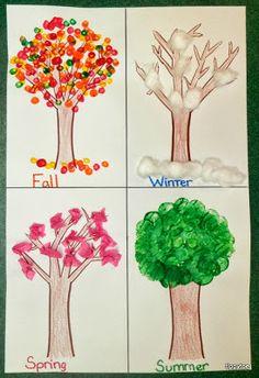 Fall: q-tips Winter: cotton balls Spring: tissue paper summer: cork
