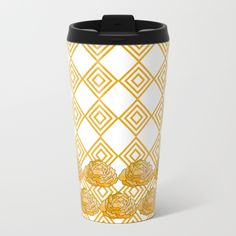 Yellow Peonies & Diamonds Metal Travel Mug - Talk about steely good looks. In addition to a 360-degree wraparound design, our metal travel mugs are crafted with lightweight stainless steel - so they're pretty much indestructible. Plus, they're double-walled to keep drinks hot (or cold), fit in almost any size cup holder and are easy to clean. $5 OFF MUGS, T-SHIRTS, TAPESTRIES, POUCHES AND ALL STOCKING STUFFERS - FREE SHIPPING ON EVERY ORDER - ENDS TONIGHT AT MIDNIGHT PT! sale, gifts, deals