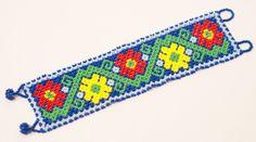 Mexican Huichol Beaded Bracelet Peyote Flowers by thebumblebeaduk