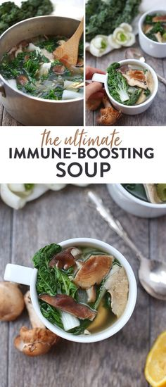 Feeling under the weather? Kick that cold or flu to the curb with the ultimate immune-boosting soup. Packed full of vitamins and minerals from delicious ingredients like turmeric kale and bok choy in a mushroom broth for a healthy vegetarian soup recipe Bok Choy Recipes, Kale Recipes, Healthy Soup Recipes, Scd Recipes, Healthy Soup Vegetarian, Vegan Soup, Heart Healthy Soup, The Healthy Maven, Healthy Eating Tips
