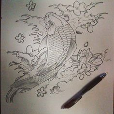 Stopping the portraits for a bit and picking up tattoo designing again! @kimmykim604  #koi #asian #waves #water #lotus #carp #karp #coi #cherry #blossoms #cherryblossoms  #ink #sharpies #art #myart #vancouver #tattoodesign #tatty
