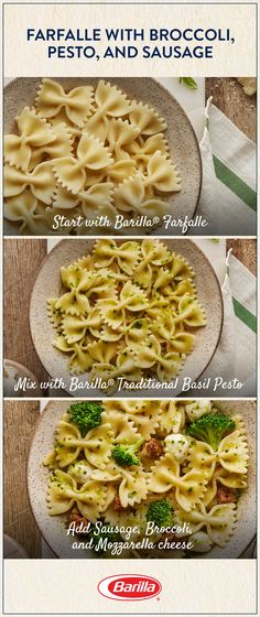 Save this farfalle recipe for a classic family meal with a fresh twist!! Made with broccoli, spicy sausage, fresh mozzarella cheese and our Traditional Basil Pesto, this recipe is easy to put together and will be your new favorite weeknight dinner.