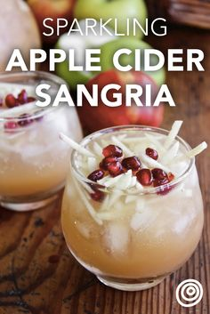 Sparkling Apple Cider Sangria Recipe. This is a great idea for party punches this fall and winter. Try this crowd pleaser, easy, pitcher drinks or pitcher cocktail for a crowd at one of your holiday (hello, Halloween and Thanksgiving) parties this year! You'll need, apples (it's a great way to use them up), cognac, cider, cava, and pomegranate seeds or arils. This contains alcohol, but we've got an alternate recipe to make it non-alcoholic too.