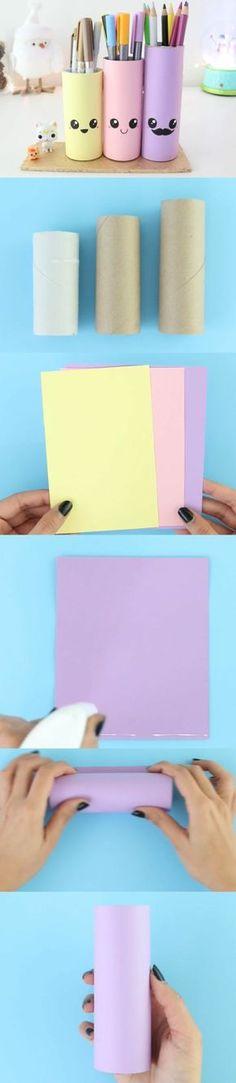 tutoriel pour fabriquer un pot à crayon, diy rouleau papier toilette, et papier essuie tout, deco papier coloré, et traits de visage