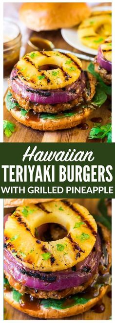 Hawaiian Teriyaki Burgers with Grilled Pineapple and Onion. Juicy teriyaki burger patties made with ground chicken or turkey, glazed with an easy homemade teriyaki burger sauce. Simple, healthy, and d (Grilled Burger Recipes) Ground Turkey Burgers, Ground Chicken Burgers, Grilled Chicken Burgers, Turkey Burger Recipes, Ground Turkey Recipes, Chicken Burger Patty Recipe, Healthy Turkey Burgers, Grilled Burger Recipes, Simple Burger Recipe