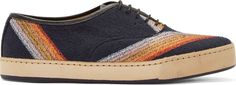 Paul Smith Navy Embroidered Terrycloth Sneakers