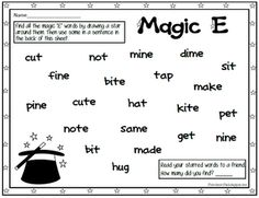 """Free """"Magic E"""" word search. Tons of other free activities and printables on this site also. Teaching Phonics, Phonics Activities, Free Activities, Alpha Phonics, Jolly Phonics, Student Teaching, Writing Activities, Teaching Resources, Teaching Ideas"""