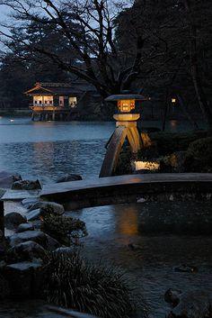 Kotoji Lantern - Kenrokuen, Kanazawa, Japan by PBY Japanese Garden Style, Chinese Garden, Japanese House, Japanese Gardens, Japanese Lighting, Japanese Stone Lanterns, Kanazawa, Japan Garden, Tokyo