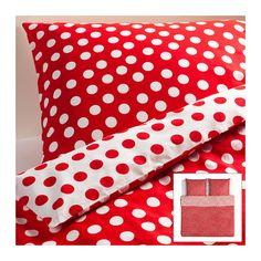 STENKLÖVER Bettwäscheset, 3-teilig IKEA Bettbezug mit verdeckten Druckknöpfen, die die Decke am Herausrutschen hindern.