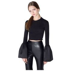 D40-Black-Stretch-Flare-Satin-Sleeve-Crop-Top