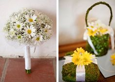 White and yellow daisies - wedding bouquets and accents Daisy Bouquet Wedding, Wedding Flowers, Yellow Wedding, Nautical Wedding, Flower Centerpieces, Our Wedding, Wedding Ideas, Wedding Styles, Real Weddings