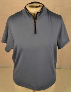 Danskin Now Size XL Blue Zippered Collar Short Sleeve Sports Blouse Shirt