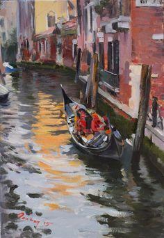 Venice by Bogdan Goloyad  35x24 cm oil on by BogdanGoloyadArt