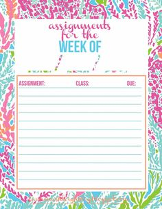 Lauren Ashleigh: Free Printable: Assignment Tracker in Let's Cha Cha