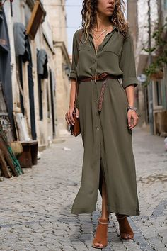 Summer Loose Long Shirt Dress Women Solid Pockets Turn Down Collar Long Sleeve Casual Maxi Dress Ankle Length Color Black Size S Casual Work Dresses, Elegant Dresses For Women, Dresses For Work, Beautiful Dresses, Formal Outfits, Casual Outfits, Maxi Shirt Dress, Maxi Dress With Sleeves, Tunic Shirt
