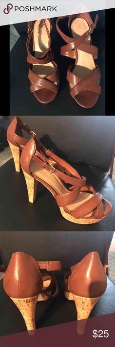 Lauren Conrad brown heels Gently used, worn twice. Very cute with jeans or a dress! LC Lauren Conrad Shoes Heels