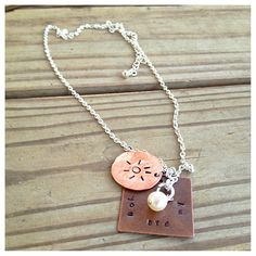 DIY hand stamped metal jewelry. Using penny and copper. And small font stamps. Easy, fun, beautiful DIY jewelry or gift idea.
