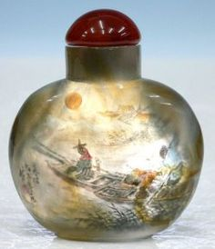 Genuine Natural Agate Snuff Bottle - Inside Painting Landscape