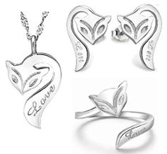 AmaranTeen - 925 Pure Sterling Silver Fire fox Women Three Pieces set