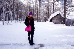 Winter Pink Bag outfit.