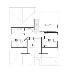 Upper Floor Plan of Mascord Plan 2185A - The Chandler - Perfect Craftsman Family Home with 4 Bedrooms