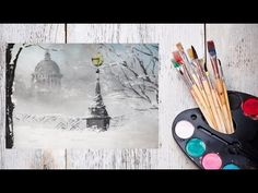 Как нарисовать зимний Петербург акрилом! #Dari Art - YouTube