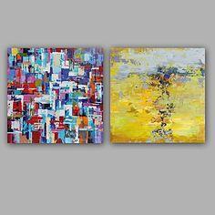 Handgeschilderde Abstract Klassiek Modern Canvas Hang-geschilderd olieverfschilderij Huisdecoratie Twee panelen