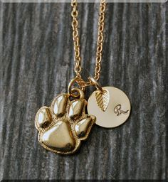 Gold Paw Print Charm Necklace Initial Charm Necklace