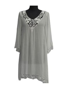 Resort Wear Top With Lace http://www.divinedivalifestyle.com/shop/cover-ups/resort-wear-top-with-lace/ Resort wear rayon voil kaftan with cut out embroided neckline and detailed sleeve.
