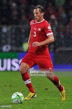 Reto Ziegler of Switzerland in action during the FIFA 2014 World Cup Qualifier match between Switzerland and Slovenia match held at Stade de Suisse...