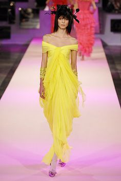 A bright yellow dress from the Christian Lacroix Spring 2007 Couture dress.