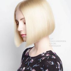 This bob cut is so picture perfect. I'd love to have my bf's hair bobbed like this.