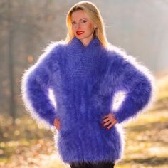 BLUE-Hand-Knit-Mohair-Sweater-Shawl-Collar-BLUE-Handmade-Jumper-SUPERTANYA-M-L