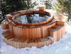 Hot Tub Deck, Hot Tub Backyard, Outdoor Sauna, Outdoor Baths, Pool Girl, Spa Jacuzzi, Sauna House, Stock Tank Pool, Wooden Bath