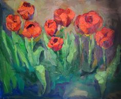 9 tulips  Oil,   40x50
