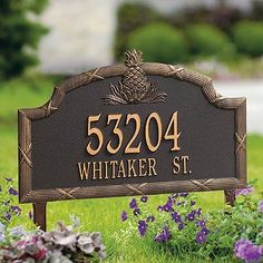 Standard Pineapple Address Plaque - Bronze, Wall - Frontgate by Frontgate. $119.50. Includes wall-mount hardware or stakes for in-ground installation. Personalize with up to 5 numerals on first line and 17 letters on second. Powdercoated enamel finish that performs beautifully. Rustproof aluminum casting. Rustproof aluminum casting. Powdercoated enamel finish that performs beautifully. Personalize with up to 5 numerals on first line and 17 letters on second. Includes wal... Mailbox Monogram, Pool Mat, Garden Plaques, Entry Lighting, Stone Columns, Lawn Sign, Free Monogram, Address Plaque, Address Numbers