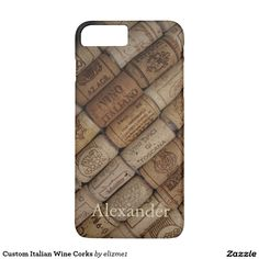 Custom Italian Wine Corks iPhone case, also available for Samsung phones. Add the name of your choice to create a unique gift.
