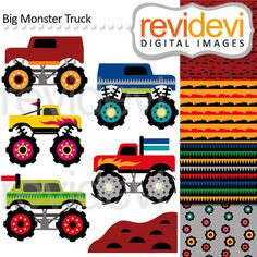 Digital clip art Big Monster Truck Parade Cliparts by revidevi