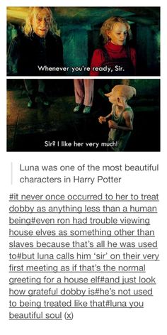 Luna - Harry Potter | There's a reason Luna was my favorite character. Then the beautiful story behind the actress on top of that!! Just amazing!