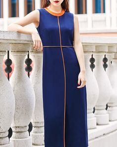 #AdoreWe LILITH A PARIS Modern Blue Plain Sleeveless Polyester Color-block Midi Dress - AdoreWe.com
