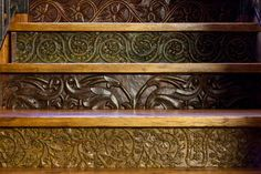 Staircase riser detail - gorgeous... Stair Railing, Railings, Painted Stair Risers, Basement Makeover, Decor Ideas, Craft Ideas, Sams, Foyers, Stairway