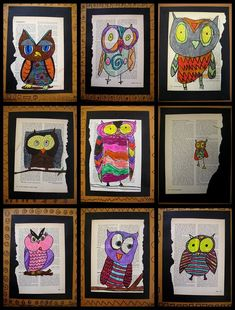Inspiration - Owl Collage on Book Pages